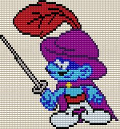 Don Smurfo from the Smurfs Square Grid Pattern (Pattern by me, Man in the Book)