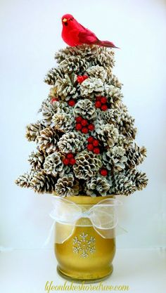 Life on Lakeshore Drive DIY Winter Pine Cone Tree