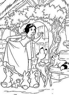 Poisoned Apple To Princess Snow White Disney Coloring Page