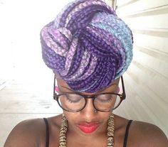 pink purple blue box braids