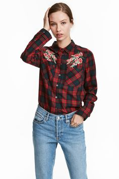 Buy H&M Women's Red Cotton Shirt With Embroidery, starting at €23. Similar products also available. SALE now on!