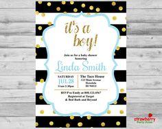 Boy Baby Shower Invitation Oh Baby Invite by StrawberryPartyPrint