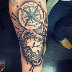 antique pocketwatch and compass tattoo - Google Search