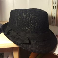 Black lace fedora Worn once. Will be clean and disinfected for shipping. Cute and classic women's fedora. Collection 18 Accessories Hats