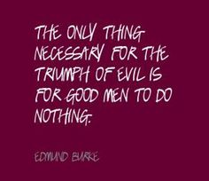 """""""The only thing necessary for the triumph of evil is for good men to do nothing.""""  Edmund Burke"""