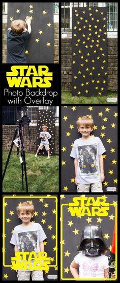 Use um pedaço de compensado, um pouco de tinta preta e adesivos de estrelas para fazer um fundo para fotos.   23 maneiras de dar a melhor festa de aniversário do Star Wars de todos os tempos