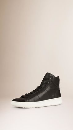 9522e680e2 Burberry Leather High-Top Sneakers in Black for Men | Lyst Leather High  Tops,