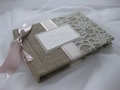 burlap and lace. cute...idea to cover three ring binder with, use for scrapbook