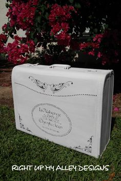 Old painted luggage,White luggage Shabby chic luggage decor,French stencil luggage,Vintage luggage,Luggage…