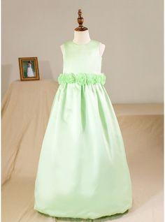 57f112c274b Ball Gown Floor-length Flower Girl Dress - Satin Sleeveless Scoop Neck With  Flower(s) (Petticoat NOT included)