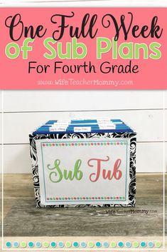 4th grade sub plans.
