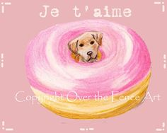 Yellow Labrador Dog Illustration Je t aime pink by overthefenceart, $4.00