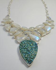 Moonstone and Titanium Druzy Gemstones Necklace 2