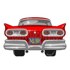 http://www.zazzle.com/creativequickies/gifts?cg=196477186762360982 www.creativequickies.com http://www.facebook.com/creativequickies 1958 red Ford Fairlane pass envy rear view cartoon. FB