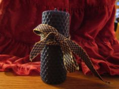 Blue Handmade Beeswax Pillar Candle 10cm x 4 by CottageChicCoqueto