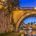 St Peter\'s Basilica with Ponte and Castle Sant Angelo panorama in Rome