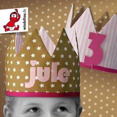 Geburtstagskrone genäht Größenverstellbare, personalisierbare Stoffkrone von www.windeltou.de Baby, Birthday, Kids, Fabric Crown, Handmade, Projects, Nice Asses, Names, Young Children