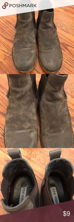 Steve Madden Army Green Booties Steve Madden Army Green Booties - worn in booties - spots on front - worn in back  - as seen in picture small strings pieces Steve Madden Shoes Ankle Boots & Booties