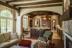 Love this WARM and cozy decor.  These Marvin windows perfectly compliment the wood beams in this house.  Find your inspiration here https://www.nextdoorandwindow.com/inspire-yourself/window-gallery/    #nextdoorandwindow #marvinwindows #windows #newwindows #replacmentwindows #ChicagoDesign #traditionalhome #neutraldecor #openspace #luxuryhomes #dreamhome