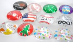 large HOLIDAY SET 1 magnets or push pins - 2016 perpetual calendar, easter, valentines, christmas, thanksgiving, birthday, new year