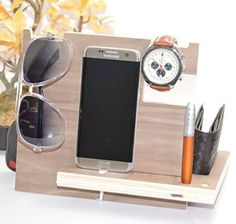Wooden Phone Docking Station with Key Holder, Pen Holder, Wallet and Watch Organizer (Mahogany Color)