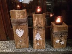 Risultati immagini by christmas decoration Rustic Christmas, Christmas Art, Winter Christmas, Winter Holidays, Christmas Decorations, Xmas, Christmas Ornaments, Winter Diy, Wood Crafts