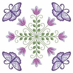 Set of 2 purple butterfly tulip embroidered fabric quilt blocks squares Embroidery Applique, Machine Embroidery Designs, Purple Butterfly, Real Flowers, Quilt Blocks, Projects To Try, Wings, Tapestry, Fancy
