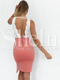 Vestido con abertura sin espalda encaje-(Sheinside)