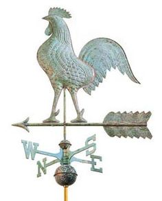 A grand architectural ornament for your home, the Good Directions Medium Rooster Weathervane flaunts a detailed copper sculpture of a proud rooster. Cottage In The Woods, Cozy Cottage, Black Rooster, Weather Vanes, Dream Barn, Bird Feathers, Wind Chimes, Outdoor Chairs, Copper