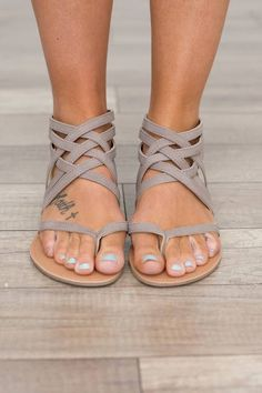 Head over Heels — Strapy front flat sandals with a zipper back...