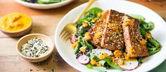 Ginger Tofu with Broccolini and Carrot Ginger Dressing