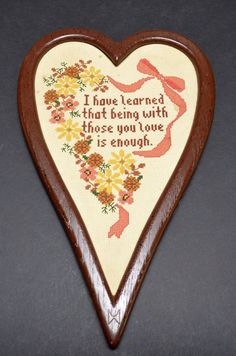 CROSS STITCH Professionally FRAMED VERSE Custom Heart Shape LOVE I have learned