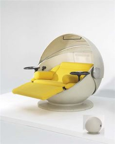 """GÜNTER FERDINAND RIS AND HERBERT SELLDORF Rare """"Sunball"""" lounge chair, 1969-1971  Lacquered fiberglass, reinforced polyester, ABS plastic, aluminum, fabric. Manufactured by Rosenthal, Germany. 48 3/4 in. (123.8 cm) high, 62 1/8 in. (158 cm) deep"""