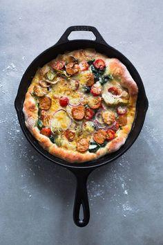 Cast Iron Skillet Summer Campfire Recipes Italian Sausage Spinach Tomato Artichoke Heart Mozzarella Pizza