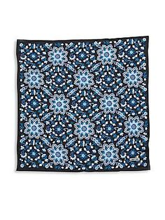 Tom Ford Floral Printed Silk Pocket Square - Navy - Size No Size