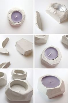 Step by step: How to make your own Diy Faceted Clay Tea Light Holders.