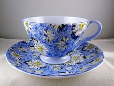 Shelley China 13451 Blue Daisy Footed Cup & Saucer Set Chintz | eBay