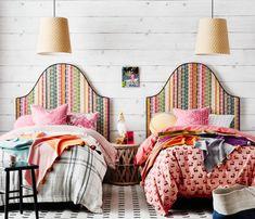 Beautiful bedheads: Anna Spiro & Heatherly Design collaborate - The Interiors Addict Anna Spiro, Velvet Cushions, Upholstered Beds, Bedroom Furniture, Furniture Plans, Kids Furniture, Plywood Furniture, Modern Furniture, Furniture Design