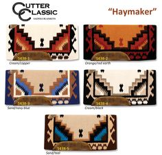 Haymaker Medium Weight Horse Saddle Blankets from Cutter Classic available in 5 great color combinations. $186 includes shipping.