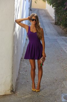 stunning violet dress sunglasses purse street summer outfits womens fashion clothes style apparel clothing closet ideas