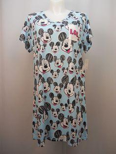 Women Sleepshirt DISNEY Mickey Mouse PLUS SIZE 2X Blue Print V-Neck Short Sleeve #Disney #Sleepshirt #Everyday