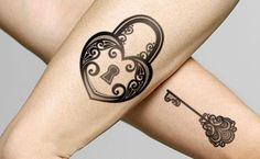 Tattoo Designs: 7 Amazing Lock and Key Tattoo Design Ideas Pair Tattoos, Couple Tattoos, Love Tattoos, Tatoos, Garter Tattoos, Rosary Tattoos, Bracelet Tattoos, Crown Tattoos, Skull Tattoos