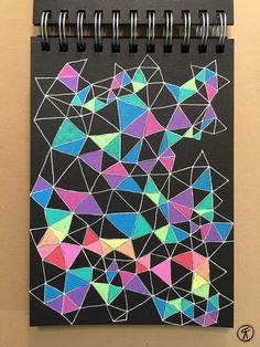 Rachel Fontenot - Color Me Geometrical - Sakura Moonlight gel pens on black paper Black Paper Drawing, Black And White Drawing, Gel Pen Art, Gel Pens, Doodle Patterns, Zentangle Patterns, Zentangles, Tinta Neon, Posca Art