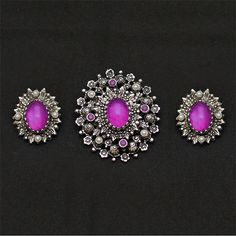 Purple Cabochon Brooch Pin and Earring Set Vintage Sarah Coventry. $30.00, via Etsy.