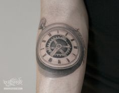 시계 타투 by 타투이스트 리버. Old pocket watch tattoo. 시계타투. 포켓와치. 빈티지. 톱니바퀴. 분당타투