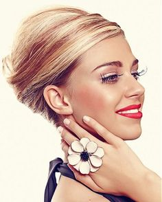 long blonde straight coloured multi-tonal wrap-around updo hairstyles for women