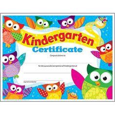 Kindergarten Certificate (Owl-Stars!) PK-K Certificates & Diplomas