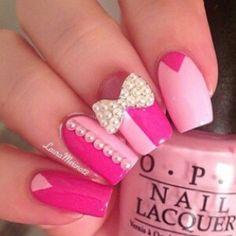 Pink jeweled nails nails nails, pretty nails и bow nail art Nail Art Designs 2016, Beautiful Nail Designs, Cute Nail Designs, Beautiful Images, Hot Nails, Pink Nails, Opi Pink, Gorgeous Nails, Pretty Nails