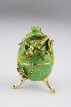 Faberge Egg with Frog by Keren Kopal trinket box Austrian and Swarovski crystals