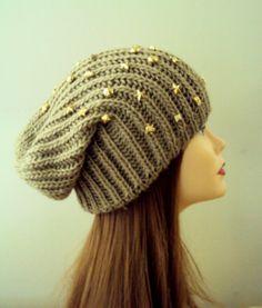 Women Slouchy Beanie Knit Slouchy Golden Metal Studded Hat Chunky Hat Beige Knit Winter Hat Winter Accessories Gift Ideas Under 50 by GrahamsBazaar, $29.99